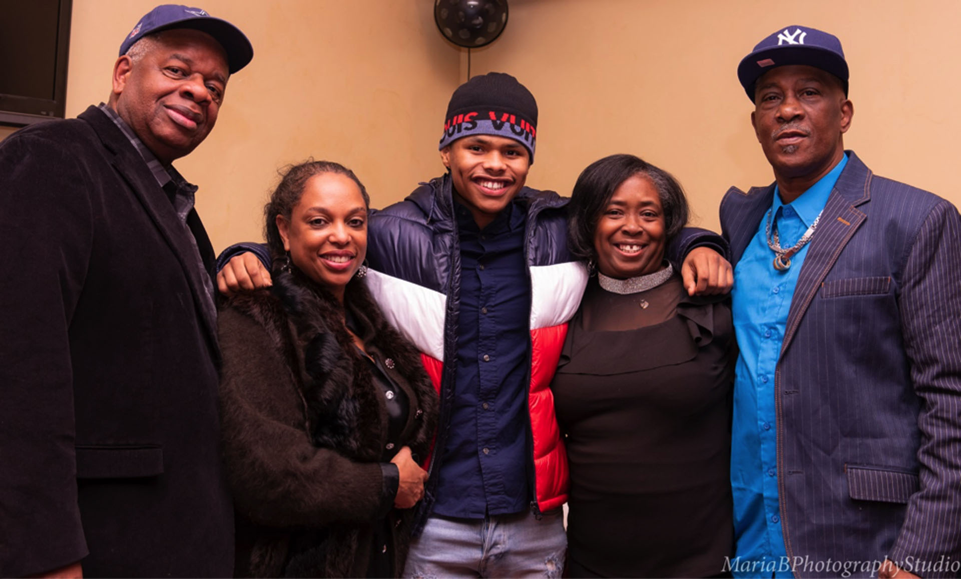 Author Gregory Burrus with Co-Host CC Minton, Olympian/Professional Boxer Shakur Stevenson, Stevenson Moses CEO Robyn Moses, and Former Olympic Coach/NJ Hall of Fame Boxing Coach Wali Moses. Photo by    Maria B. Photography Studio   .
