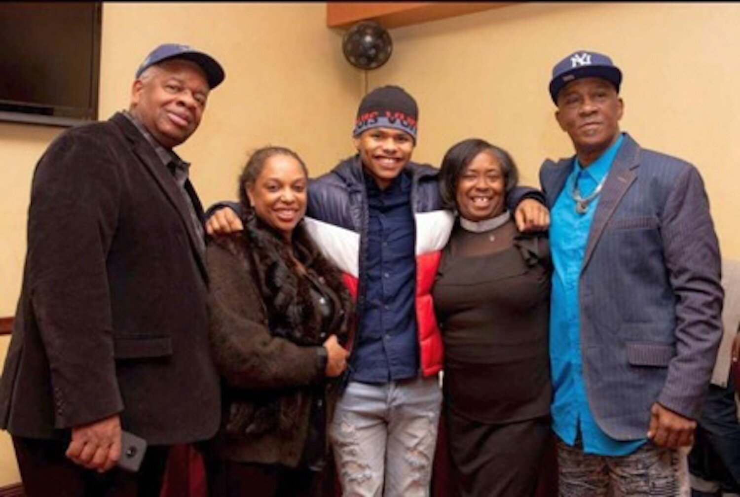 Gregory Burrus with CC Minton, Olympian/Professional Boxer Shakur Stevenson, Stevenson Moses CEO Robyn Moses, and Former Olympic Coach/NJ Hall of Fame Boxing Coach Wali Moses. Photo by    Maria B. Photography Studio   .