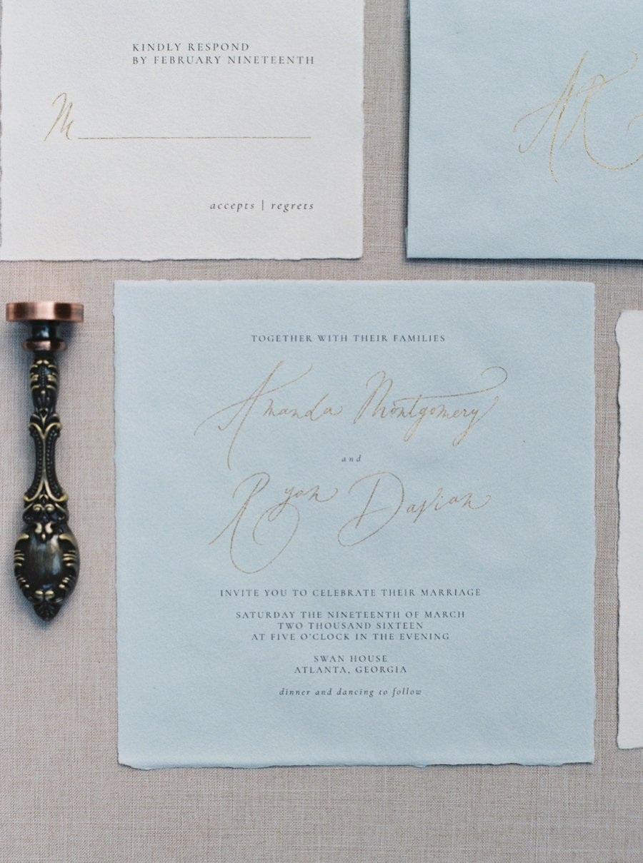 Paper Goods & Calligraphy: Spurlé Gul Studio | Photography: Simply Sarah Photography | Planning & Creative Direction: Elleson Events | Venue: Swan House