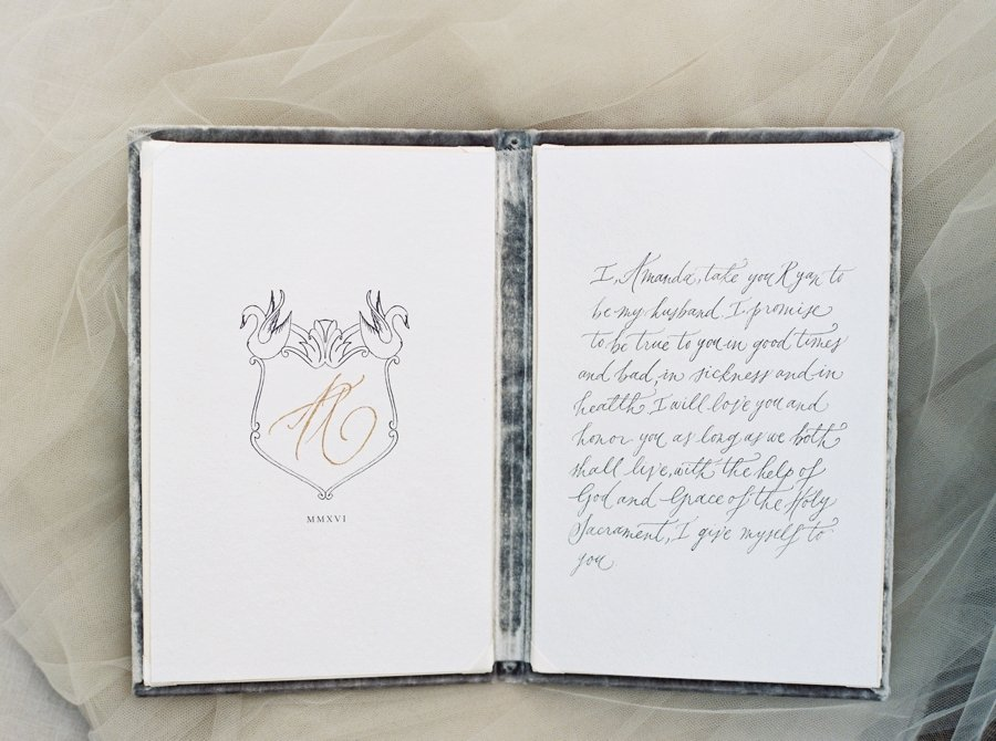 Paper Goods & Calligraphy: Spurlé Gul Studio | Photography: Simply Sarah Photography | Planning & Creative Direction: Elleson Events | Venue: Swan House | Vow Book: Wedding Story Writer