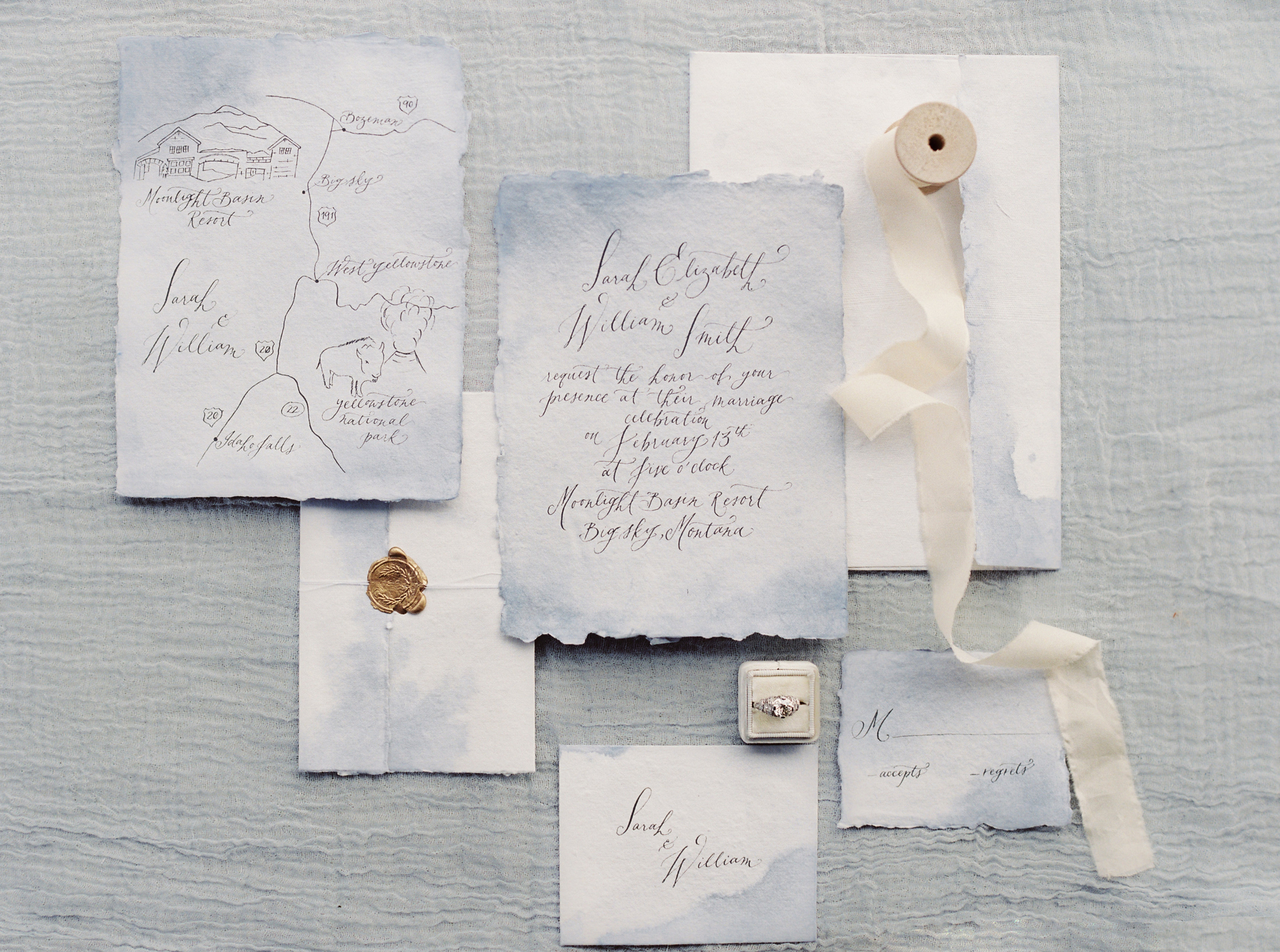 Paper & Calligraphy: Spurlé Gul Studio | Photography: Simply Sarah Photography | Planning & Styling: Bash Bozeman