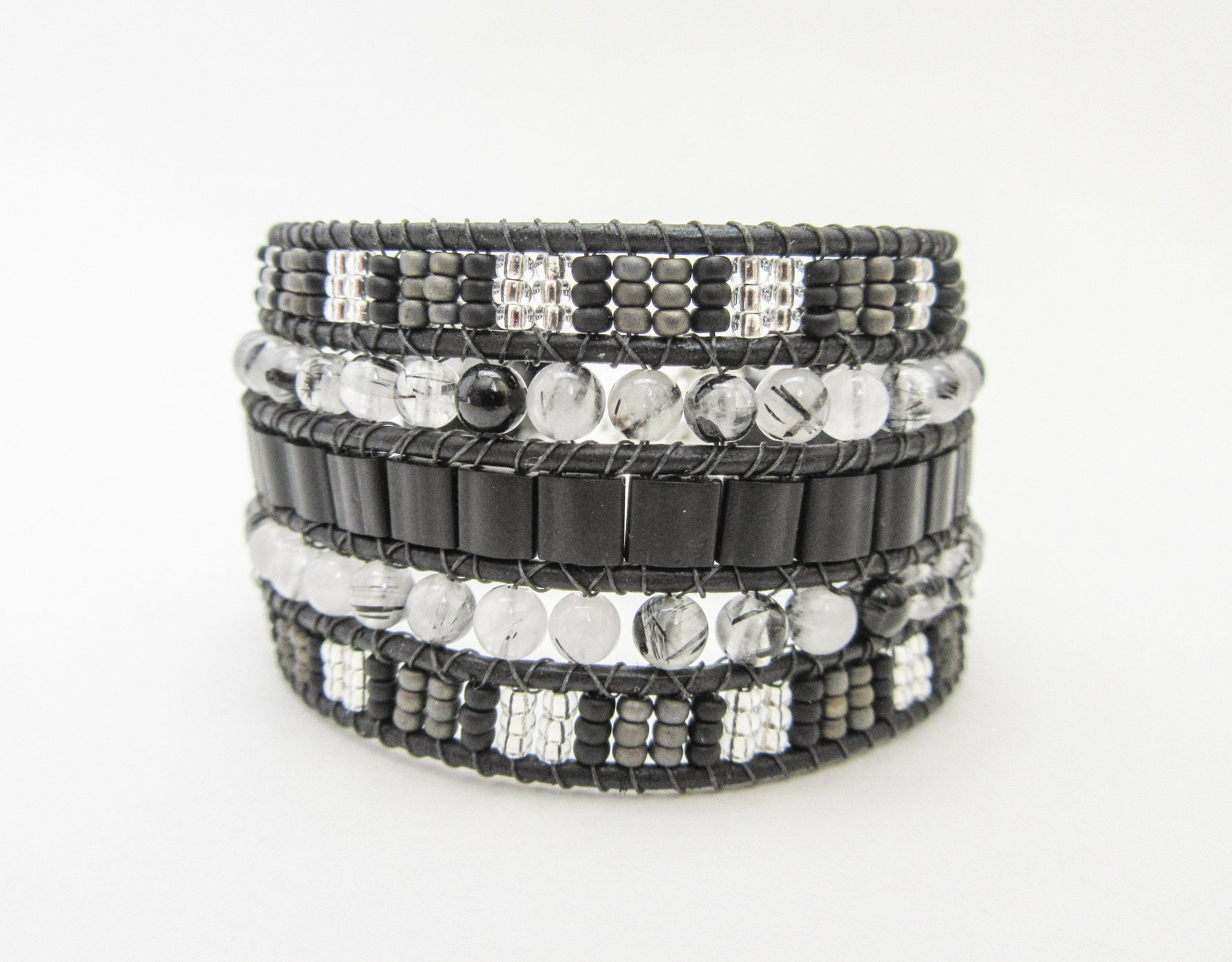 Beaded Leather Cuff Black Tourmalinated Quartz Gray Se Designs