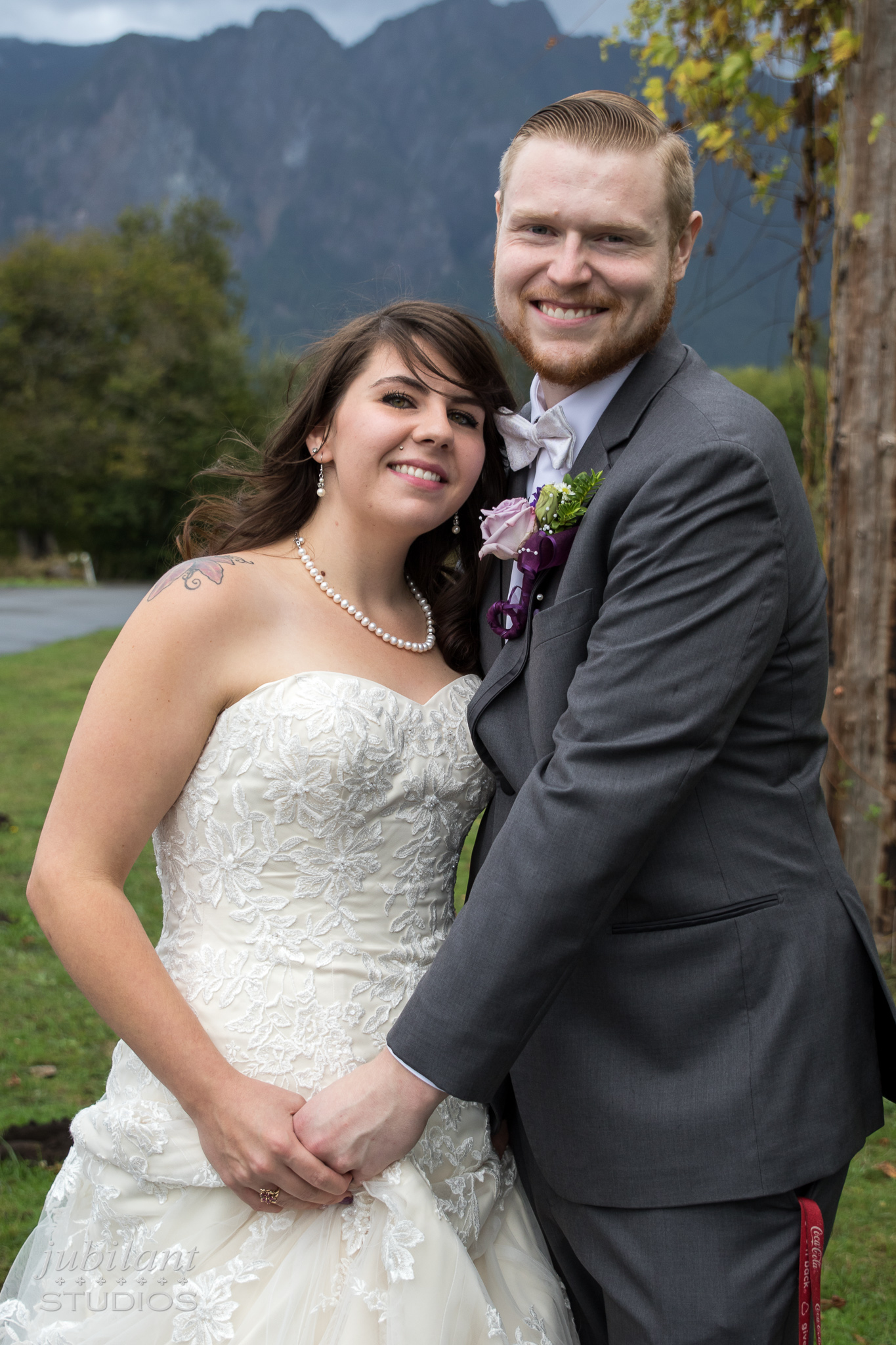 Snoqualmie Wedding Photographer Couple In Front of Mt. Si
