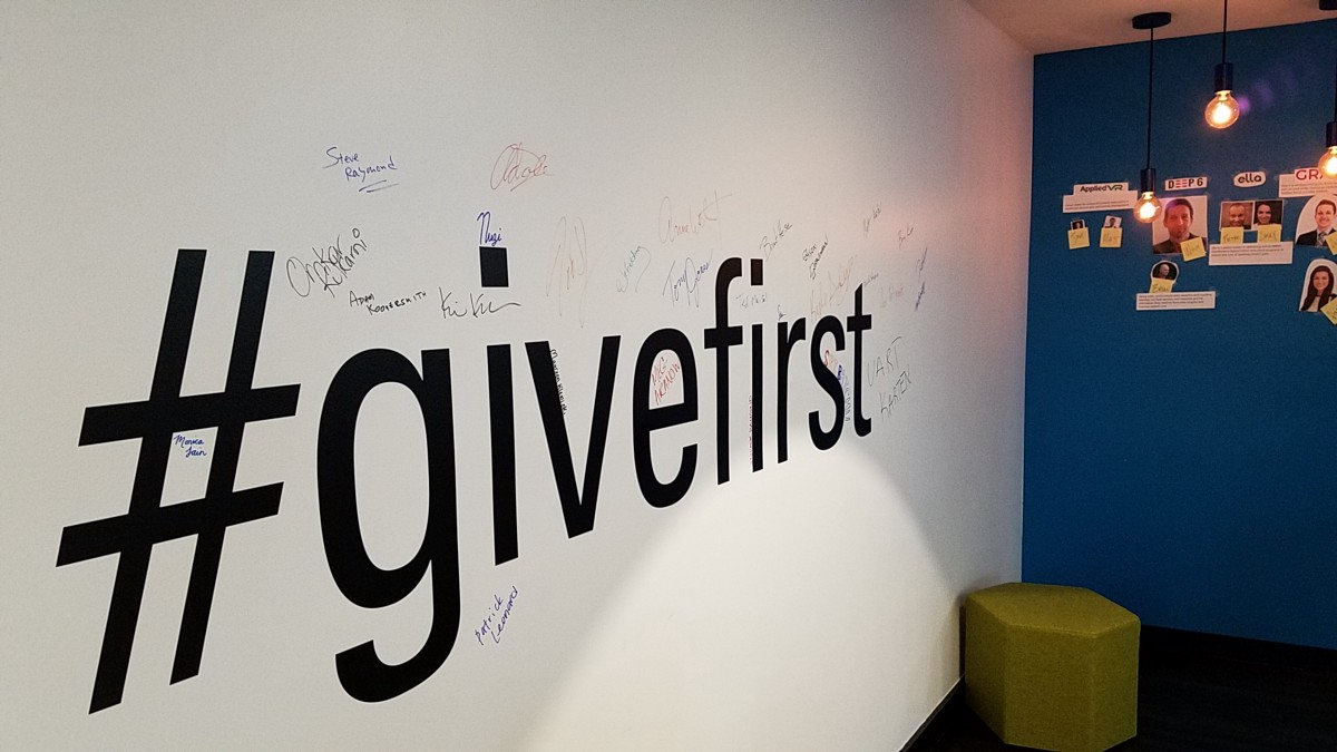 Mentors' #givefirst signatures. I hope to add my signature to the wall one day.