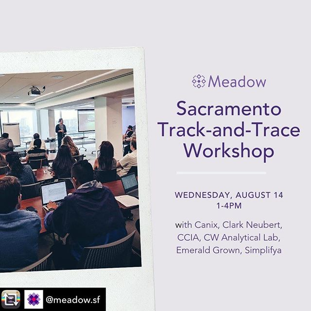 Repost from @meadow.sf We know the new state Track-and-Trace requirements can seem daunting, so we built software that is easy to use, reduces human error, and ensures full compliance with California's regulations. Let us show you how to receive products, scan and track sales, and automatically submit sales data to the state in our all-in-one retail and delivery POS platform.  Join this introductory compliance workshop for retailers & delivery operators, plus a presentation by @getcanix with information for cultivators and manufacturers:  http://metrcworkshopsacramento.eventbrite.com (link in profile)  Special thanks to our sponsors: @ccia_team, @emeraldgrown, @simplifya, @cwanalyticallab, and Clark Neubert. / / / / / / #educational#workshop#trackandtrace#cannabisindustry#legalweed#cannabisindustry#teamworkmakesthedreamwork#supportyourfarmers#supplychain#cannabislab