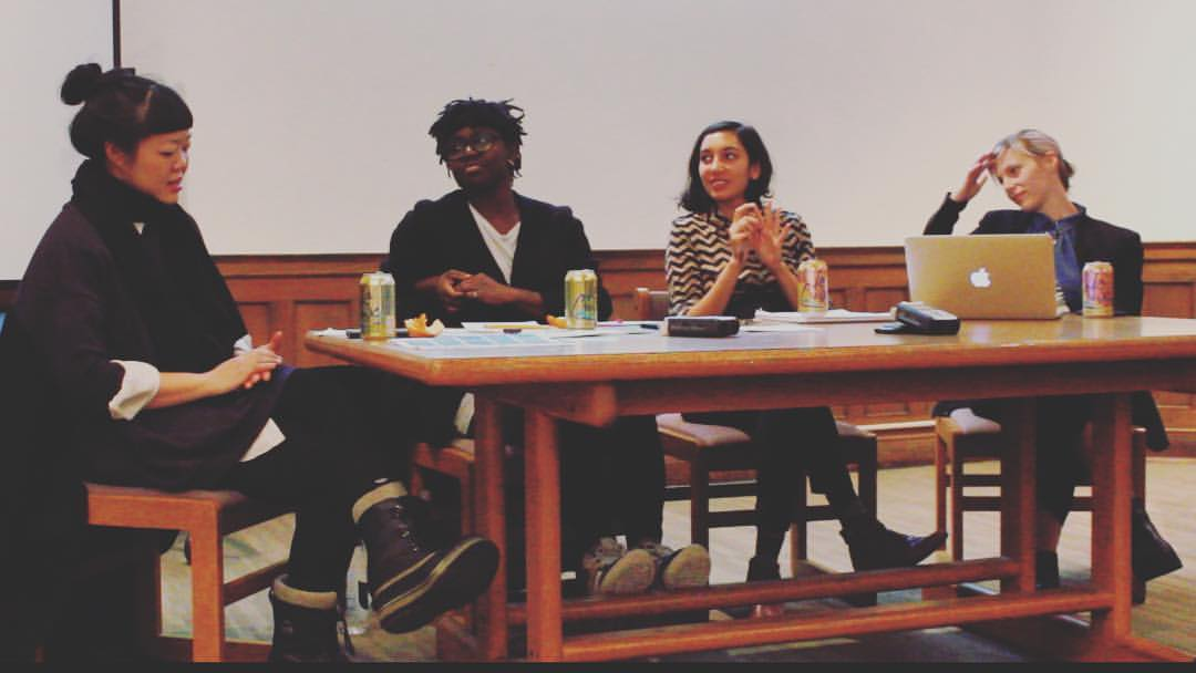 From left to right: Jen Liu, Autumn Knight, Sunita Prasad and Angela Conant, Post-Election Artists' Discussion, Pratt Institute, December 18th, 2016.