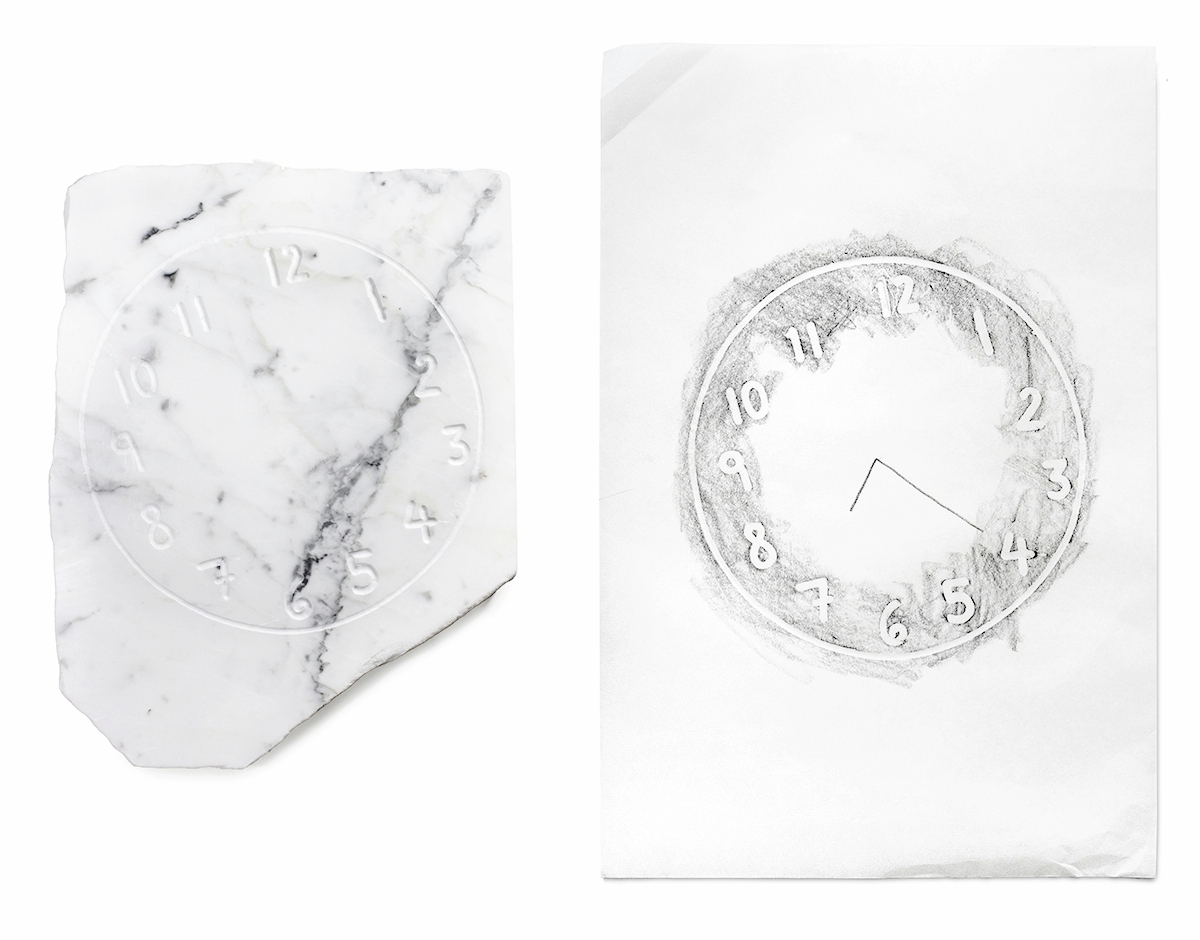 Hard Time, 2017, marble, Kozo paper and graphite, clock: 17 x 15 x 1 1/2 inches, rubbing: 12 x 18 inches