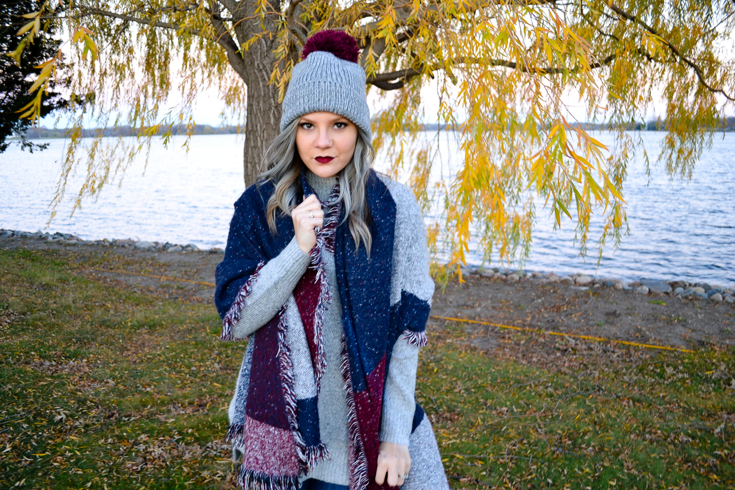Greay and Maroon Beanie_Blanket Scarf.jpg