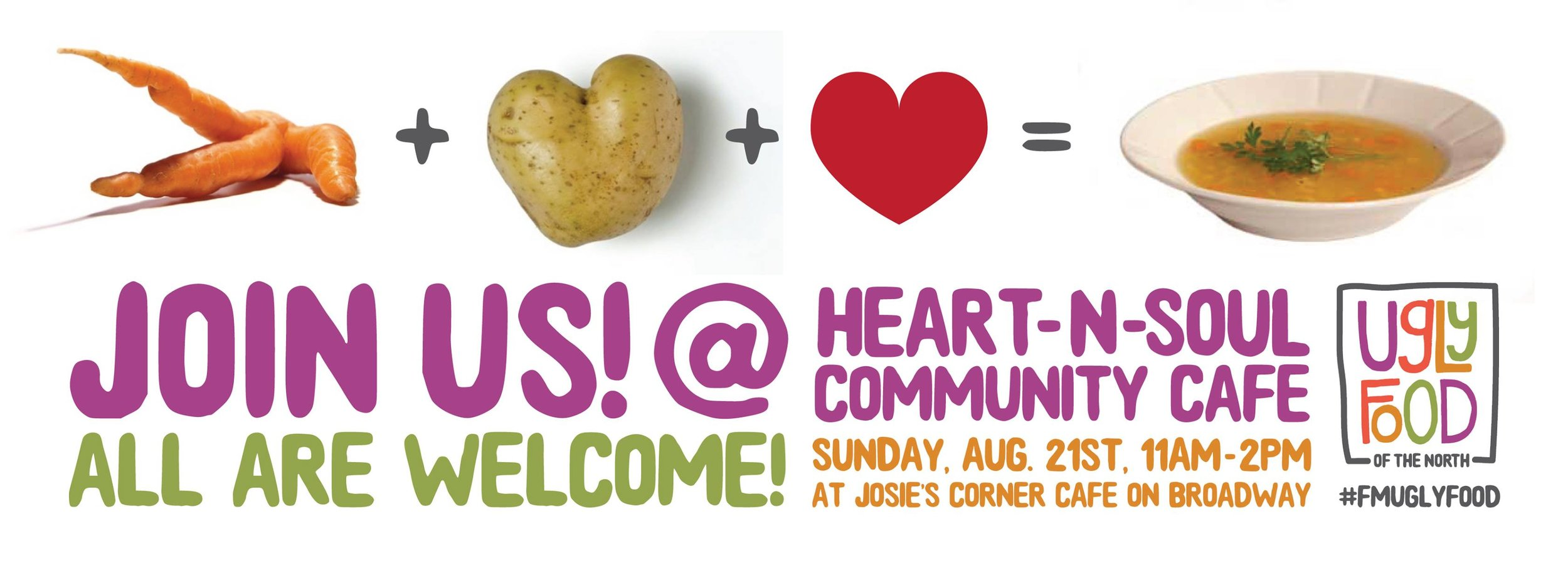August 2016 - We partnered with  Heart-and-Soul Community Cafe  to take fresh food that would otherwise be wasted and made it into a delicious meal. The Community Cafe model invites anyone to come and enjoy the meal, regardless of ability to pay.