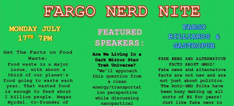 "July 2017 -  Fargo Nerd Nite  featuring our Megan Myrdal with ""Get the Facts on Food Waste."""