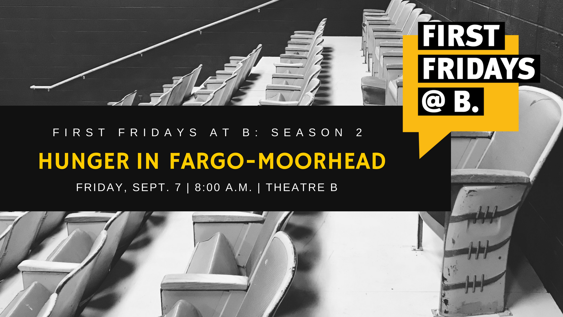 September 2018  - Our second season of First Fridays at B kicked off with an event focused on hunger. The event will feature insight from Melissa Sobolik of Great Plains Food Bank; Andrew Flory of Dorothy Day Food Pantry, & Stacie Loegering of Emergency Food Pantry.    (Watch video)
