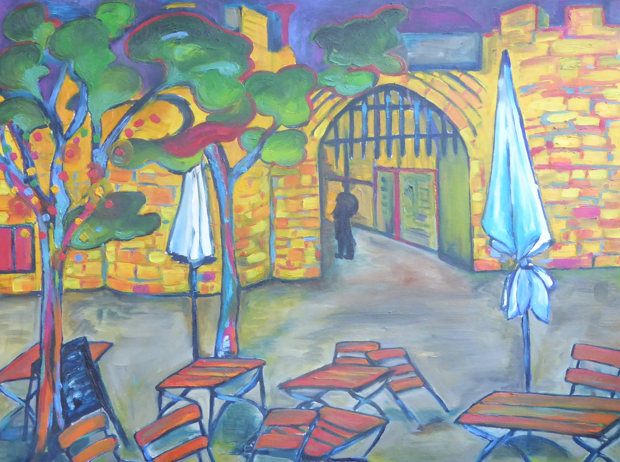 """A piece by the talented Silke... """"Eigelsteintor"""" (Gate called Eigelstein, in Cologne. Oil on canvas, 28 x 39 in)"""