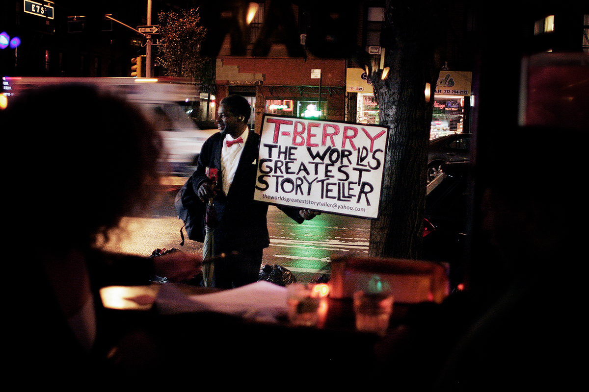 """THE WORLD'S GREATEST STORYTELLER"" (DOCUMENTARY SHORT)  T-Berry, a Harlem based street performer and self-described ""World's Greatest Storyteller,"" struggles to find relevancy in a rapidly changing city seemingly apathetic to his craft."