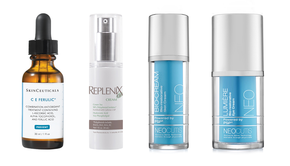 A selection of antioxidants and growth factor treatments available for purchase in our office – excellent additions to your anti-aging skin care routine.