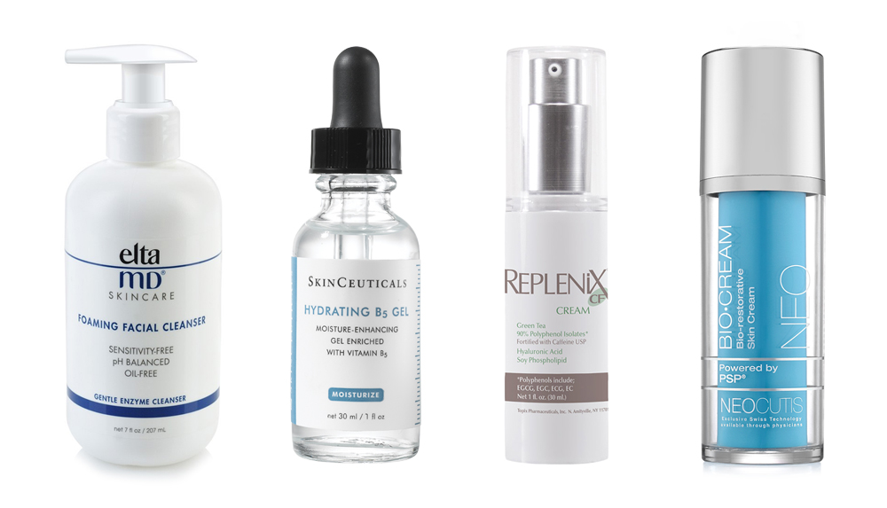 A selection of cleansers and moisturizers available for purchase in our office.