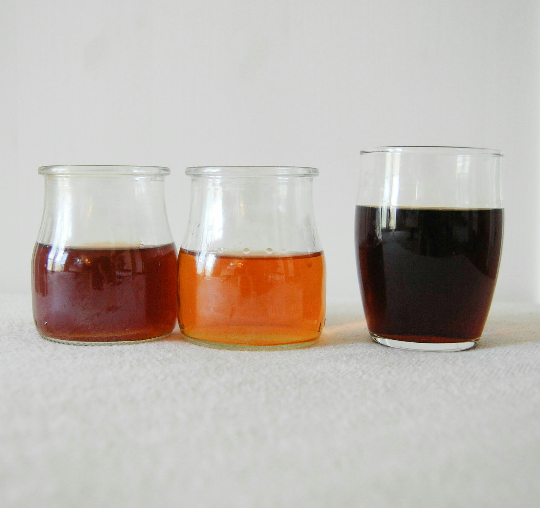 For comparison from left to right: Brewed ceylon, non infused bourbon, Ceylon infused bourbon