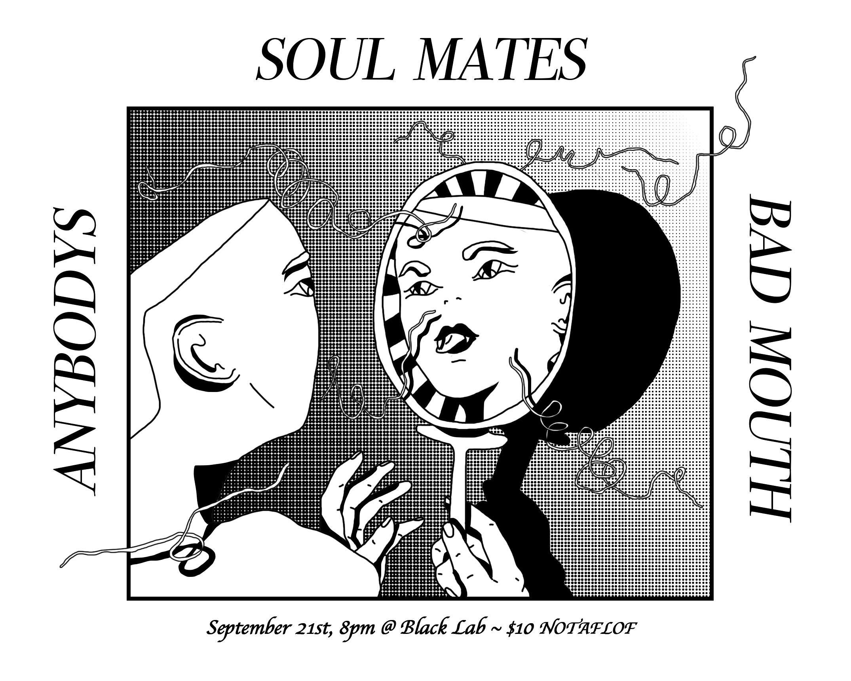 Handbill for Soul Mates, Bad Mouth and Anybodys at Black Lab, 2017