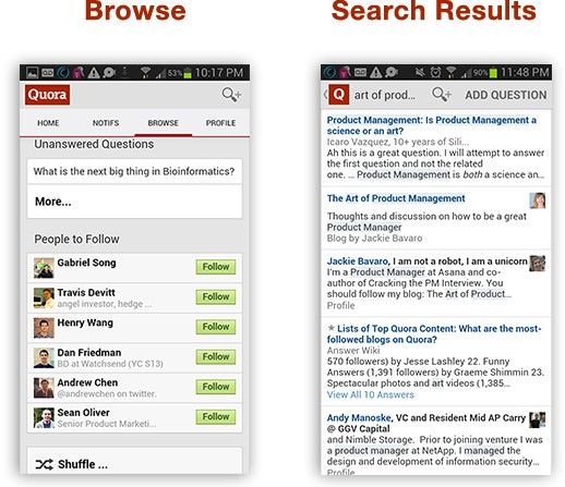 Quora Android UI for Browse and Search Results; 2014.