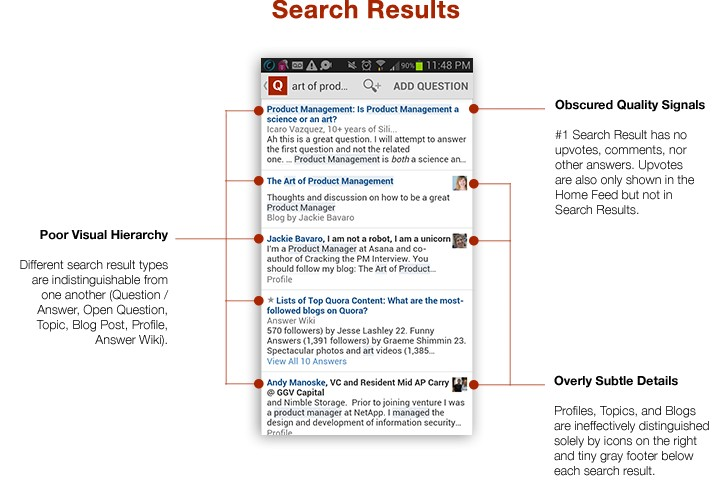 """Summary of user comments while interacting with """"Search Results""""screen."""
