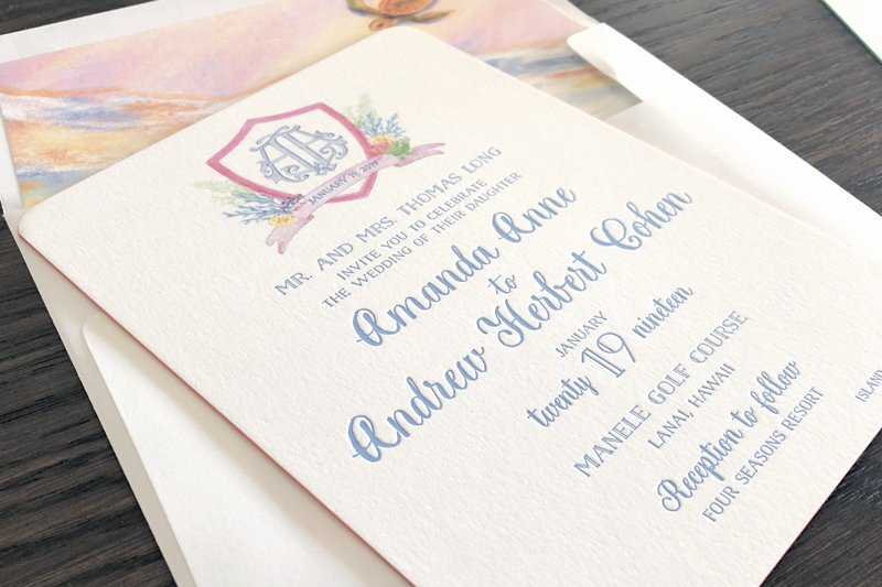 Colorful watercolor Hawaiian wedding invitations — The Windmill