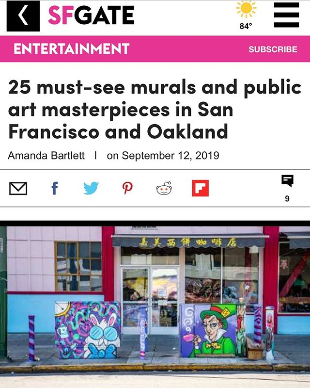 This is so cool! I made it into the 25 must see murals for SF and Oakland on @sfgate !!! I personally love this White Rabbit piece so much and love the matching Mad Hatter electrical box by @e47art! Feeling so humbled and inspired to continue to create more art and just wanted to thank all of you reading this right now for all of your support! 🙌❤️ . . . . . . . . . . #art #artist #artistsoninstagram #mural #muralist #sf #oakland #streetarteverywhere #streetart #graffiti #spraypaint #aliceinwonderland #disney #sfgate #painting #paint #style #design #femaleartist #artwork #publicart #chinatown #dragonschool #ekke #ekkeart