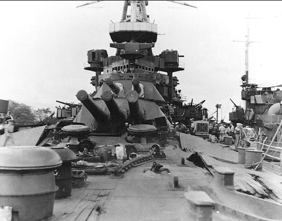 USS NEVADA BOW DAMAGE