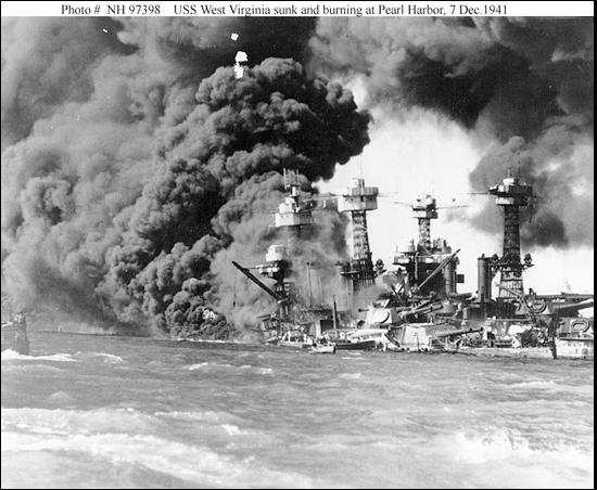 USS WEST VIRGINIA BURNING