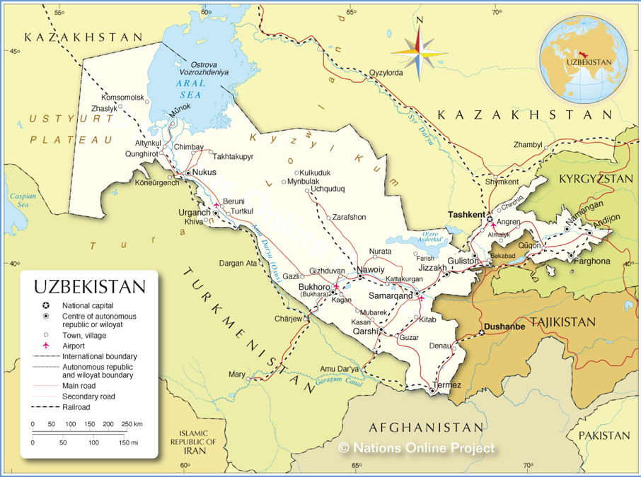 Figure 1.  The map of Uzbekistan (Retrieved from  http://www.nationsonline.org/oneworld/map/uzbekistan-political-map.htm ).