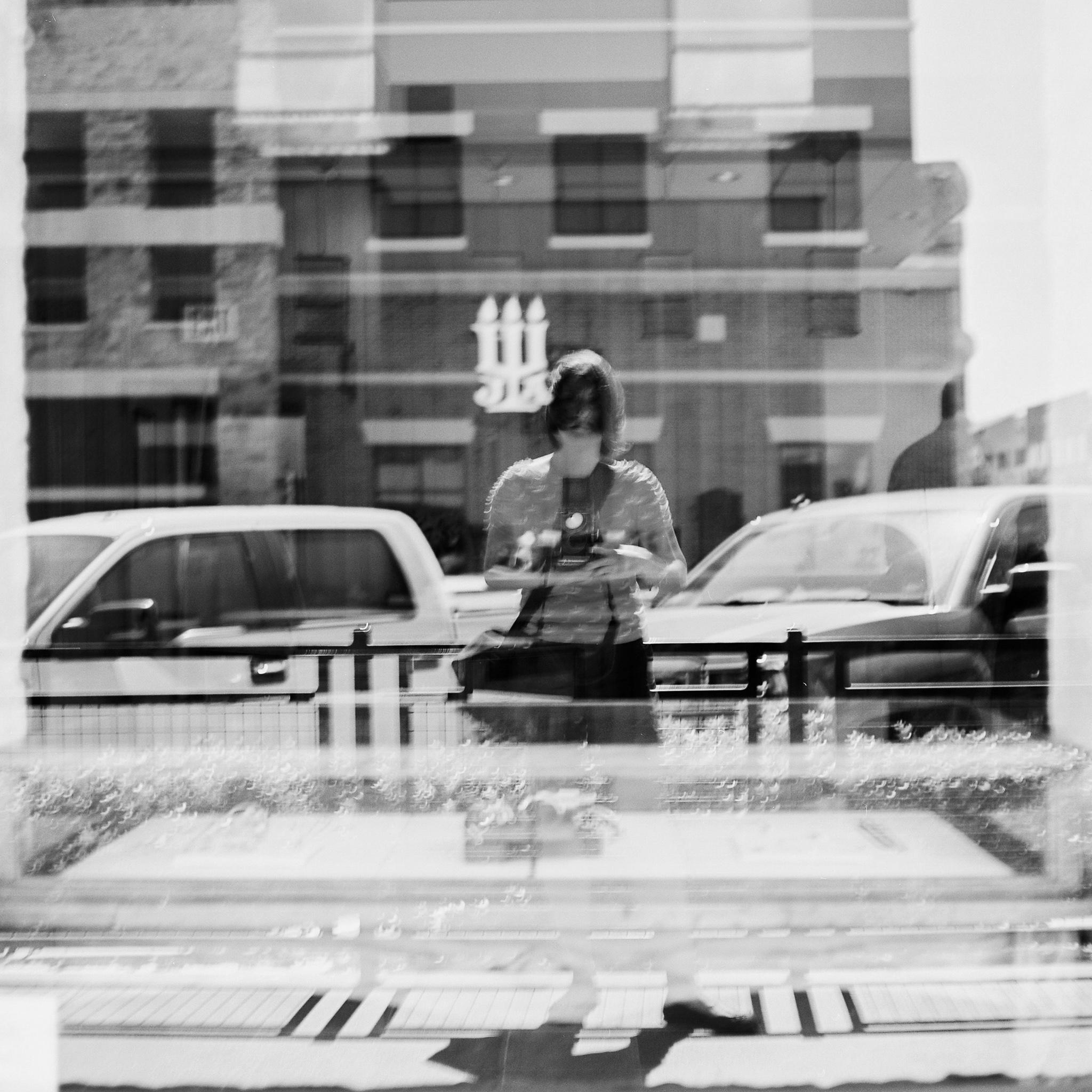 Joyce Kang selfie black and white on mamiya c330
