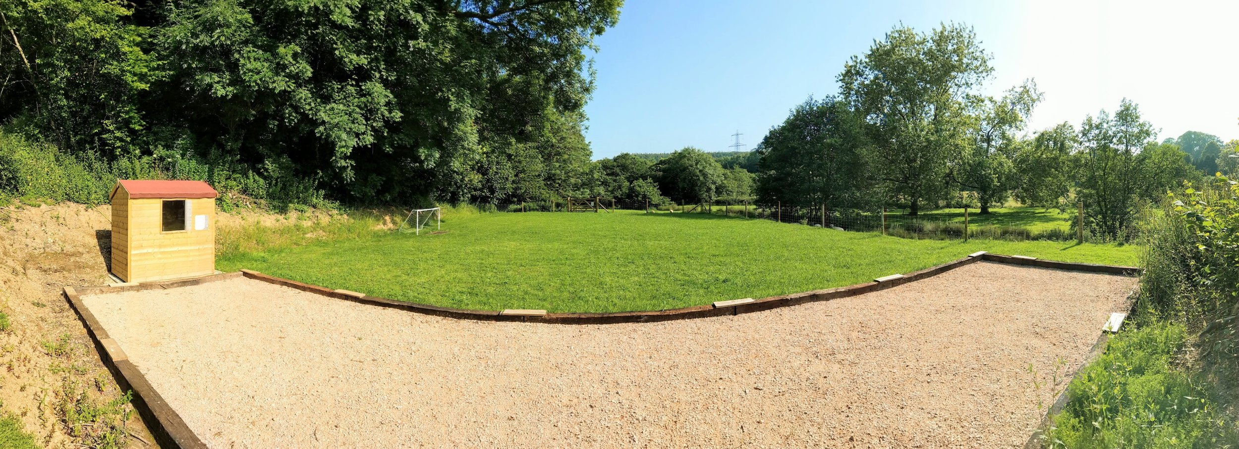 (Boules court not actually curved in real life!)