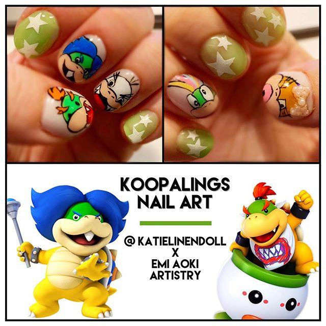I 💙 Koopalings! Another crazy nail art request beautifully hand painted by my gal @emi_aoki_nails 😋🎮💅🏻 . . . #geekandglam #gamergirl #nintendolife #koopalings #koopatroopa #nailstagram #nailart #naildesigns #naildesignideas #nailartideas #nintendonails #nintendogirl #nintendogamer #bowserjr #ludwigvonkoopa #wendykoopa #lemmykoopa #iggykoopa #larrykoopa @nintendo @nintendonyc