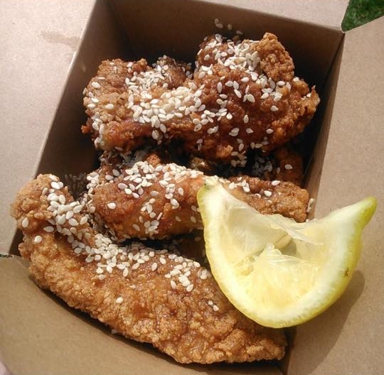 Buttermilk Fried Chicken with Honey, Lemon and Sesame Seed Dressing