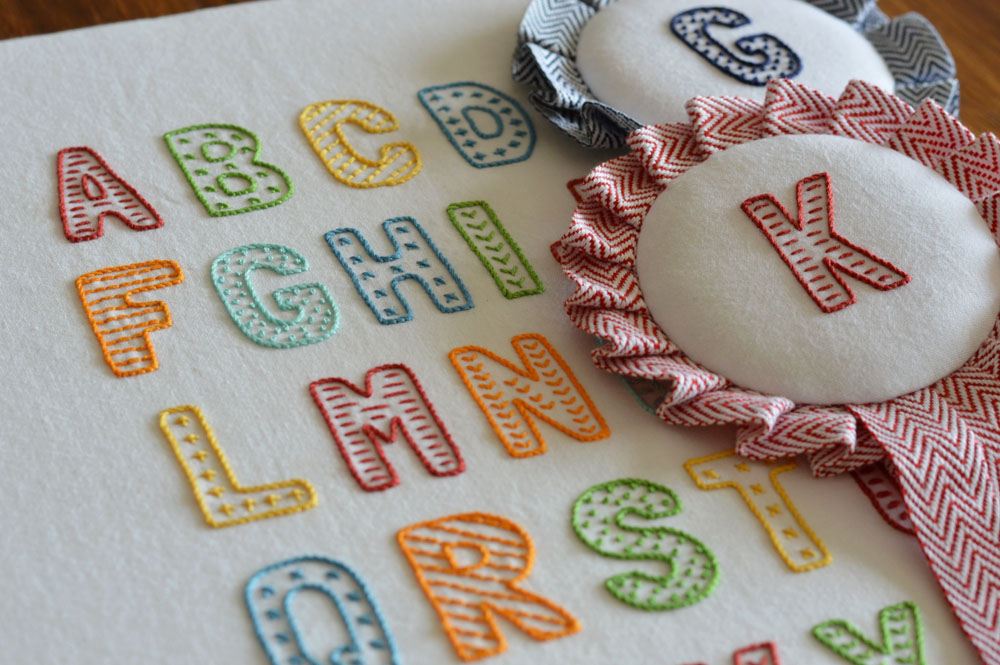 Lucky Fish Lettering hand embroidery pattern