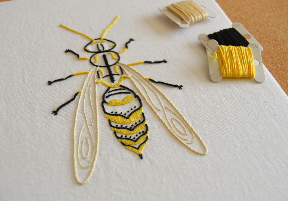 Anatomical Wasp hand embroidery pattern by Kelly Fletcher