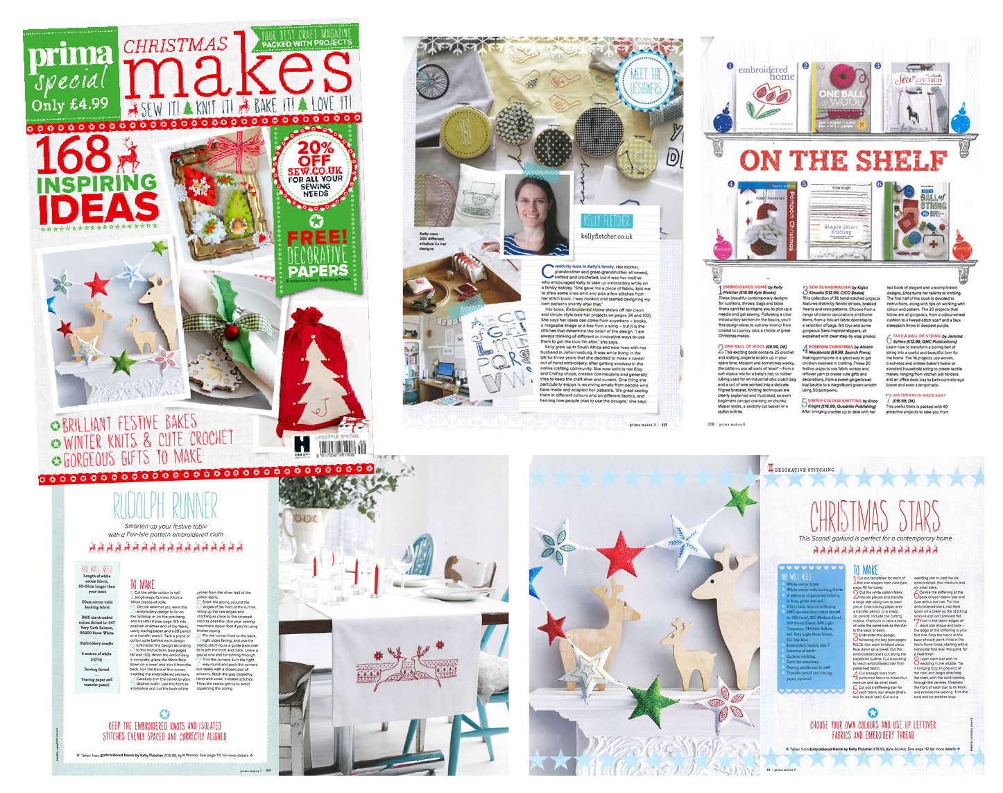 Designer profile and excerpts, including cover, from Embroidered Home -  Prima Makes , October 2015 (UK)