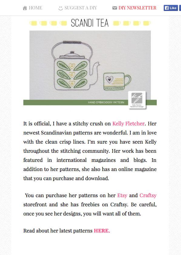 Scandi Tea pattern -  Craftgossip.com , September 2014 (US)