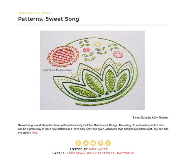 Sweet Song pattern -  FeelingStitchy.com , August 2014 (US)