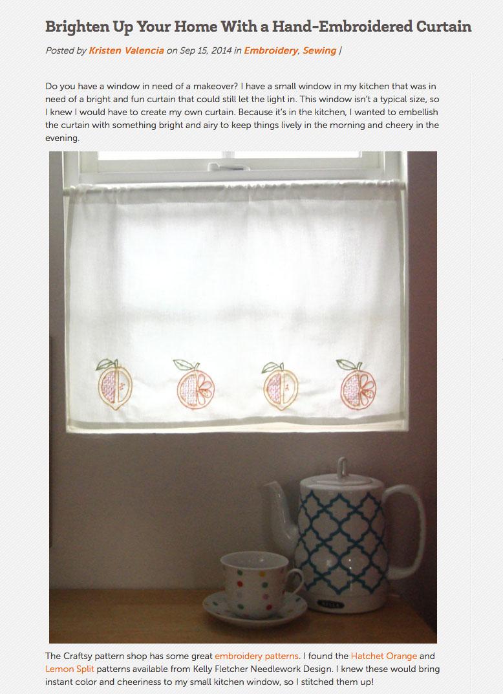 Hatchet Orange and Lemon Split patterns -  Craftsy.com , September 2014 (US)