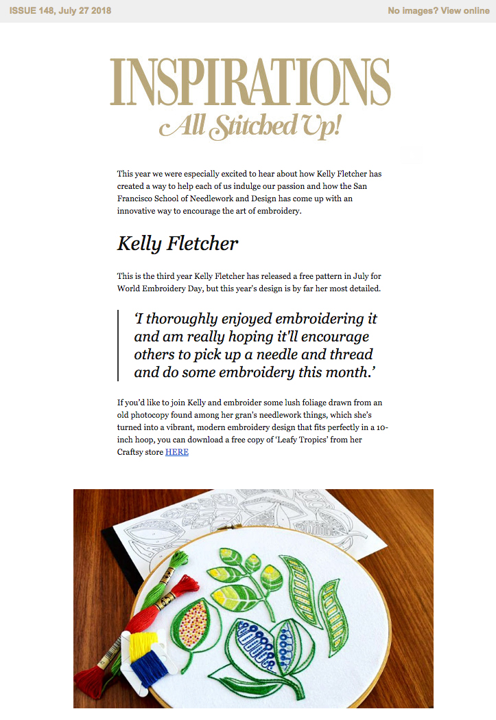 Free World Embroidery Day pattern in  All Stitched Up  – Inspirations magazine newsletter, July 2018 (Australia)