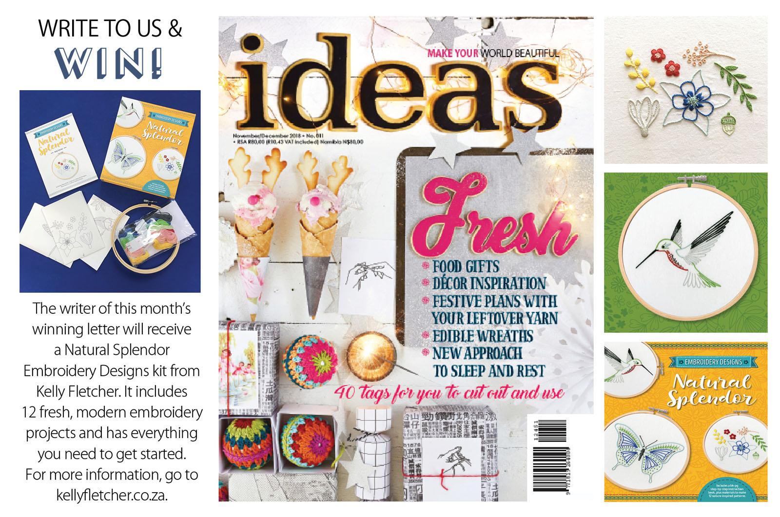 Natural Splendor embroidery kit (Quarto) –  Ideas magazine , Nov/Dec 2018 (South Africa)