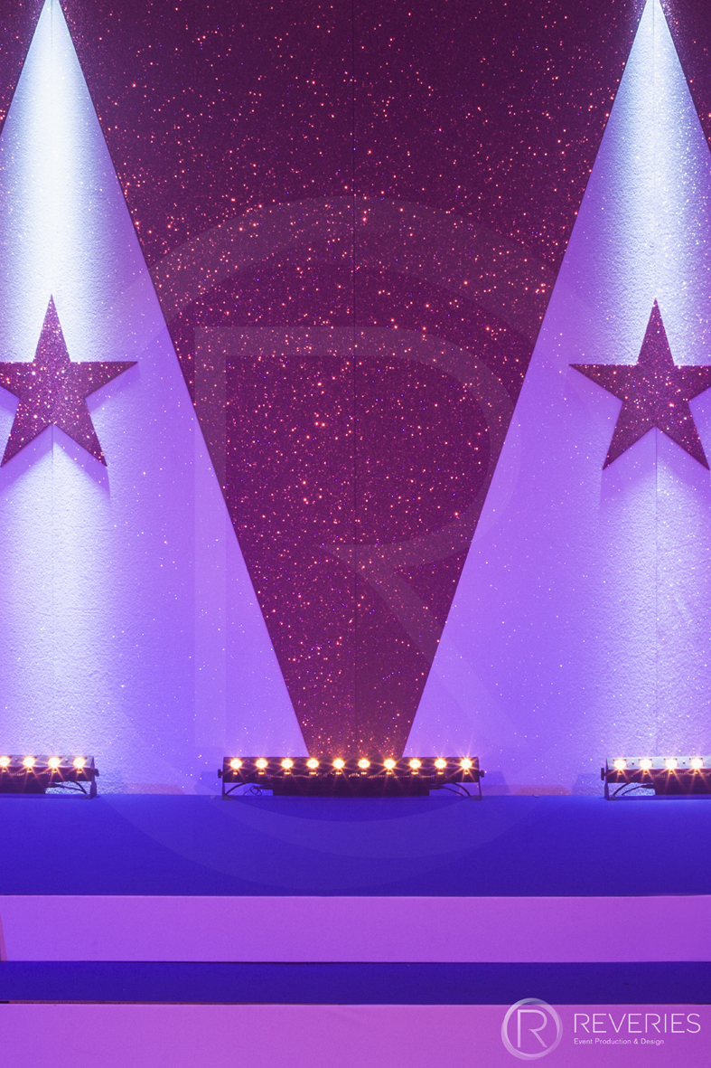 Halloween Horror Show - Bespoke triangle and star Circus backdrop detail
