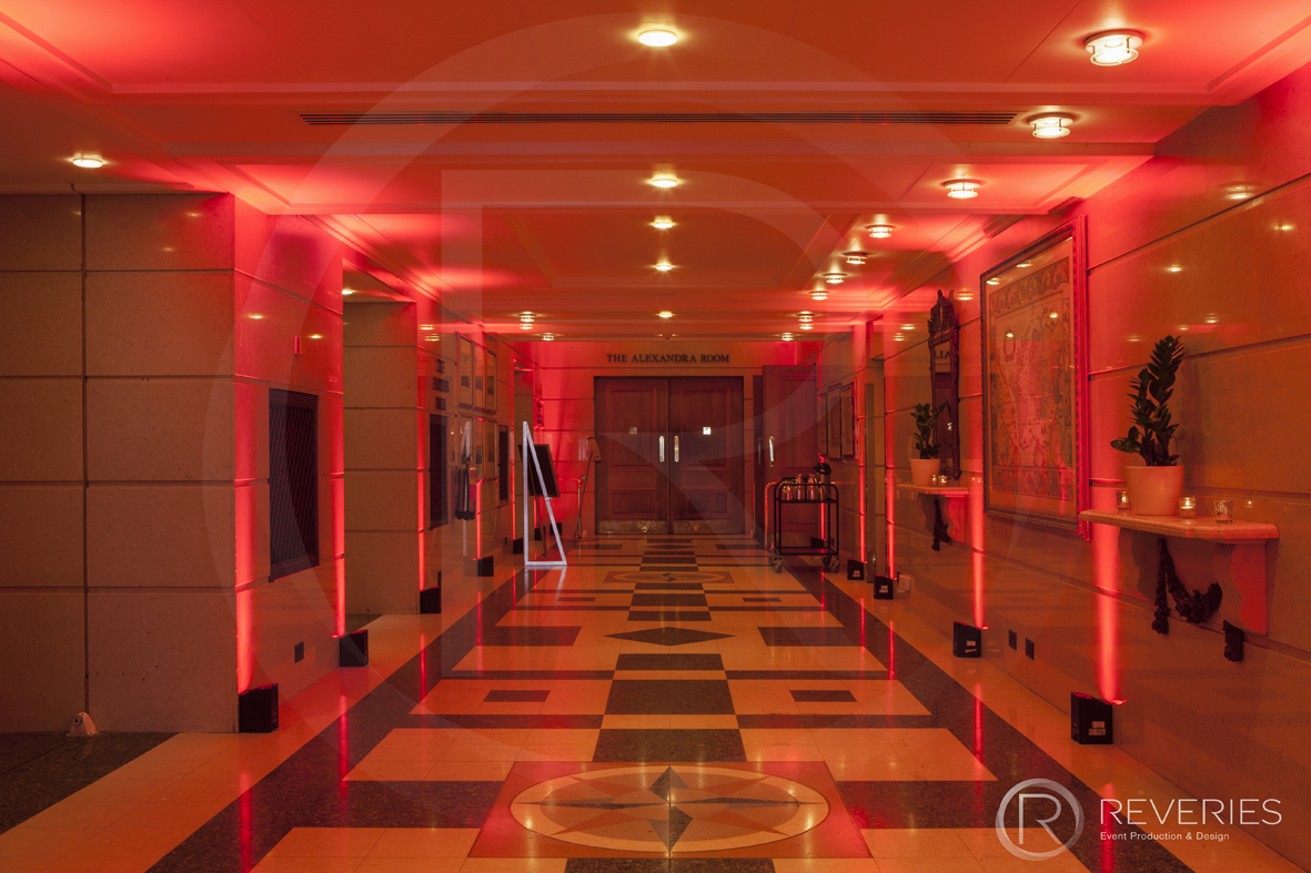 British Orthodontic Society Party - dramatic red lighting for hallway