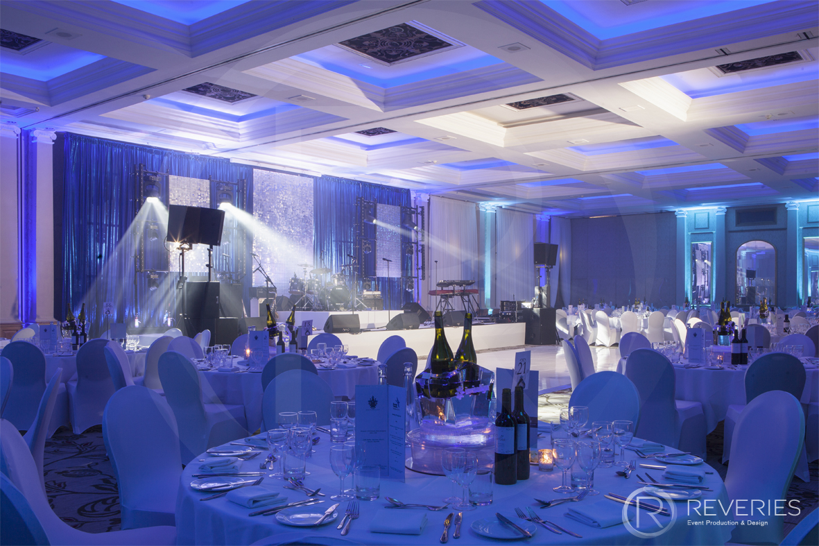 British Orthodontic Society Party - tables and bespoke stage design with full AV set up for live band
