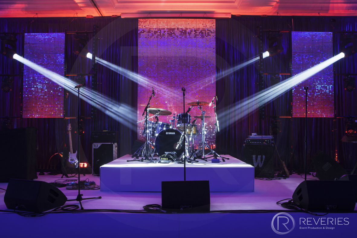 British Orthodontic Society Party - Bespoke stage design with full AV set up for live band