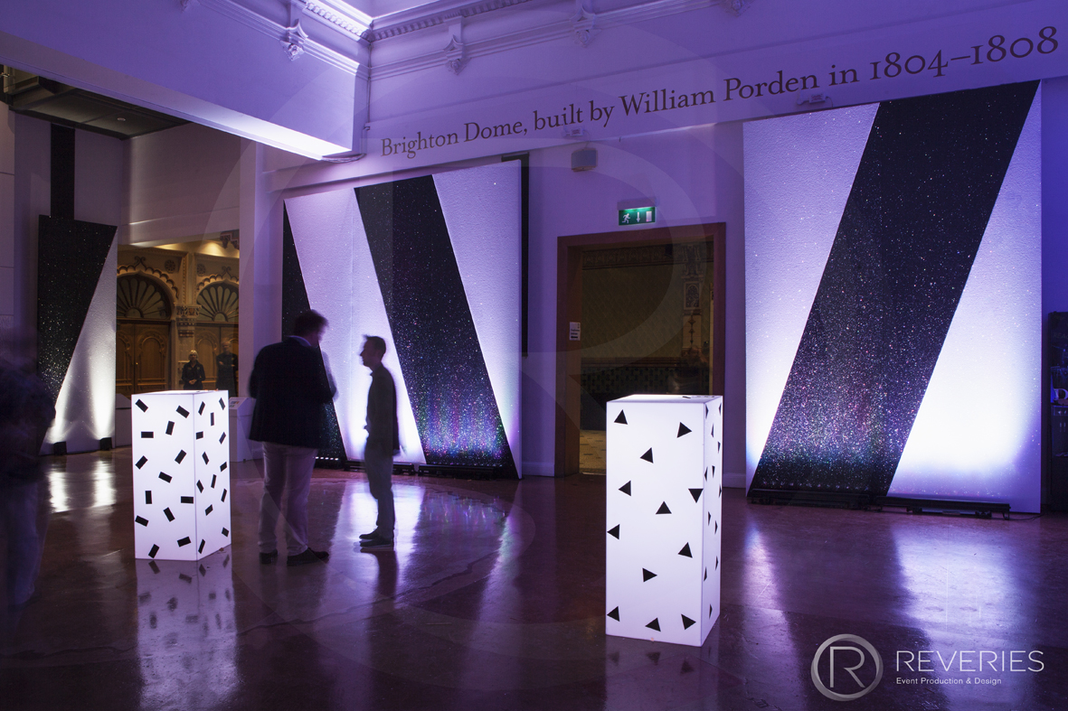 British Orthodontic Society Party - geometric themed backdrops and light box plinths