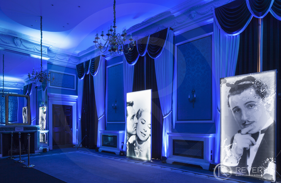A Night At The Movies - Dancefloor, DJ booth, mood lighting and giant Hollywood portraits
