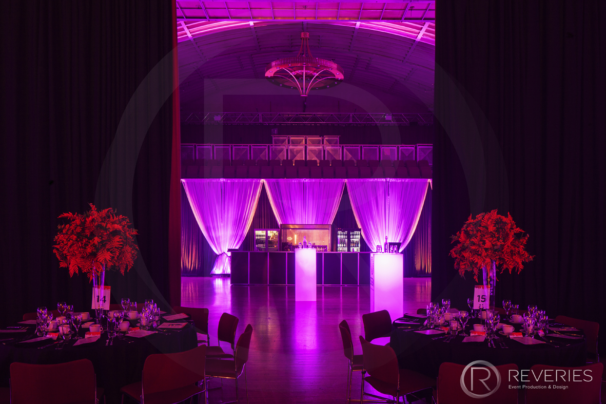 Outstanding People Awards - Table setting, centrepiece, drape and lighting design