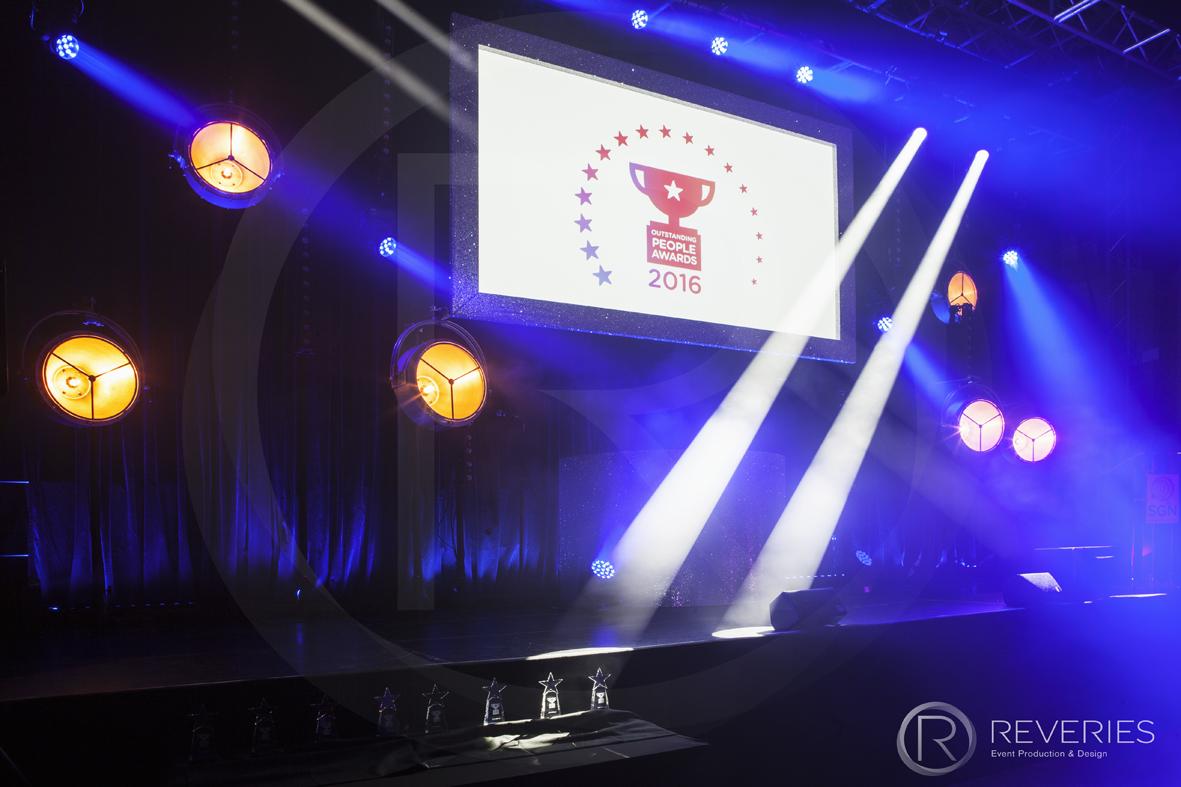 Outstanding People Awards - Stage, intelligent lighting design and full AV set up