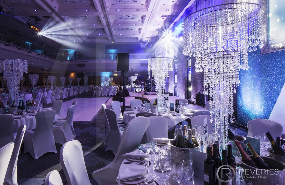 Snowman Spectacular 2016 - tables, chandelier centrepieces and dancefloor