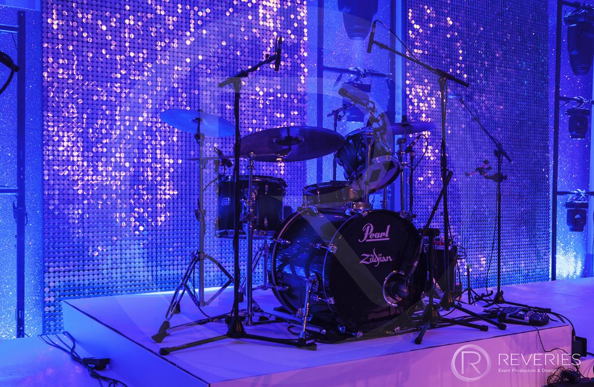 Snowman Spectacular 2016 - Bespoke stage design with full AV set up for live band - drumkit detail